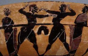 Барельеф с изображением кулачного боя двух мужчин. Обнаружен археологами в Месопотамии, возраст находки составляет около 5000 лет