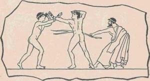 Греческие кулачные бойцы и судья (с лозой)