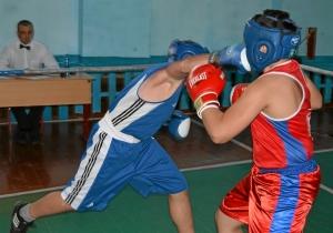 Момент боя Кирилла Донцова (в синей форме) против Рубика Шахбазяна