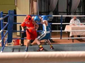 Полуфинал. Момент боя с участием Никиты Шестакова (в синей форме) 1