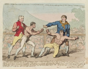NPG D12398,'The battle between Mendoza and Humphrey...' (Daniel Mendoza; Richard Humphries),probably by; published by James Gillray; James Aitken