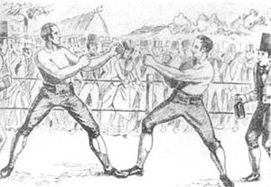 1815 год. Чемпион Ирландии Дан Доннелли (слева) в победном поединке с Джорджем Купером