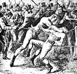 1860 год. Первый международный матч. Американец Джон Хинэн душит англичанина Тома Сойерса в 37 раунде