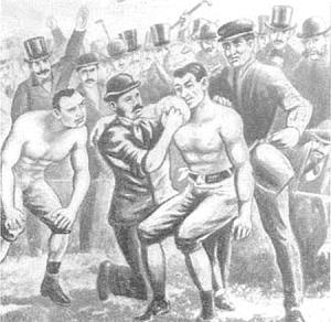 1860 год. Первый международный матч. Бой между англичанином Томом Сойерсом и американцем Джоном Хинэном