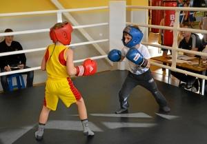 1 Момент боя самых юных участников. Андрей Рыбников (желтая форма) - Матвей Мулявин