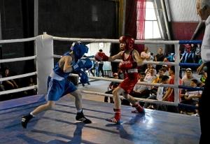 6 Полуфинал. Момент боя Данила Жуланова (в синей форме) с боксером из Казахстана