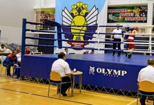 4 На ринге Иван Коломин (в синей форме)