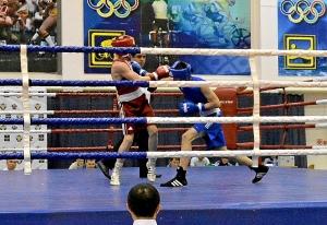 9 Четвертьфинал. На ринге Иван Коломин (в синей форме)