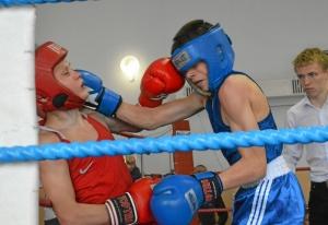 (6) Полуфинал. Момент боя Артема Алексеенко (в синей форме)