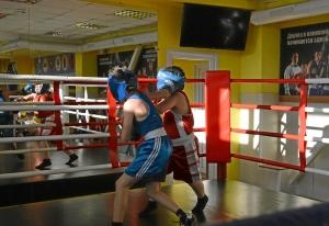 (15) Момент боя Сергея Скачкова (в синей форме) против Андрея Файзулина