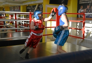 (16) Момент боя Сергея Скачкова (в синей форме) против Андрея Файзулина