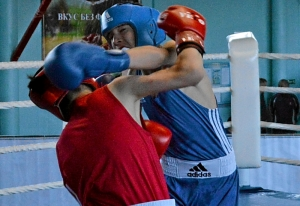 14 На ринге Алексей Чужегов (в синей форме)